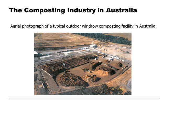 a typical outdoor windrow composting facility in Australia